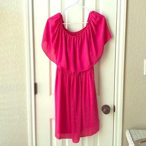 CeCe brand hot pink off-the-shoulder dress